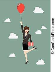 uomo affari, balloon, volare, rosso