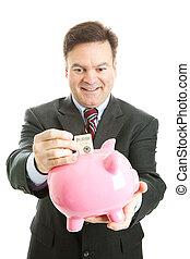 uomo affari, banca piggy