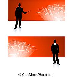 uomo affari, bandiera, sfondi corporativi