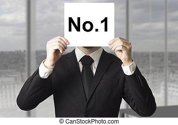 uomo affari, bastonatura, faccia, dietro, segno, numero
