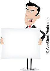 uomo affari, bianco, messaggio, presa a terra, pubblicità