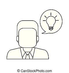 uomo affari, bianco, nero, idea