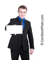 uomo affari, bianco, scheda