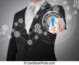 uomo affari, bottone, urgente, contatto