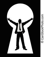 uomo affari, buco serratura, braccia aprono
