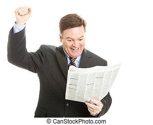 uomo affari, buono, lettura, notizie