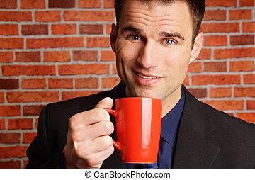 uomo affari, caffè, poliziotto