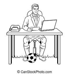 uomo affari, calcio, vettore, libro colorante
