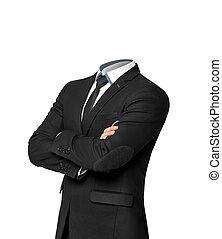 uomo affari, calore, isolato, bianco, fondo., vuoto, affari, senza, concetto, completo