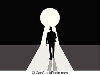 uomo affari, camminare, buco serratura