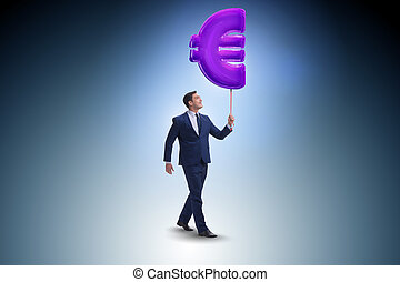 uomo affari, camminare, euro, gonfiabile, segno