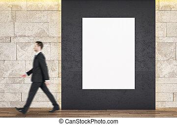 uomo affari, camminare, galleria