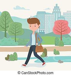 uomo affari, camminare, parco, giovane