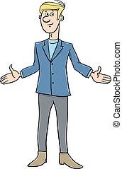 uomo affari, carattere, cartone animato