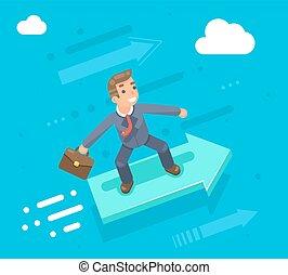 uomo affari, carattere, sentiero per cavalcate, su, il, infographic, freccia, crescita, successo, appartamento, disegno, vettore, illustrazione