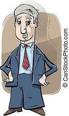 uomo affari, caricatura, disegno