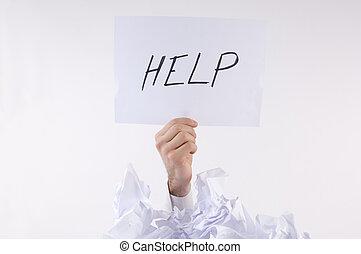 uomo affari, carta, sommerso, chiede, aiuto