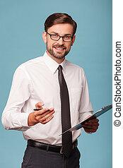 uomo affari, carte, giovane, lavorativo, attraente
