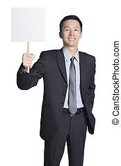 uomo affari, cartellone, presa a terra