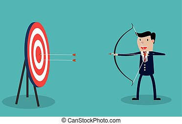 uomo affari, cartone animato, freccia, arco