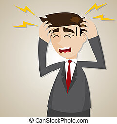 uomo affari, cartone animato, mal di testa