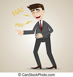 uomo affari, cartone animato, ridere