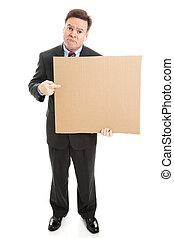 uomo affari, cartone, triste, segno