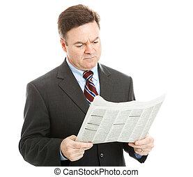 uomo affari, cattivo, lettura, notizie
