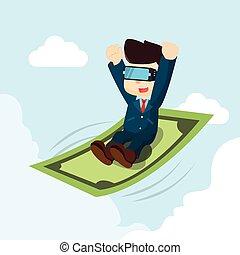 uomo affari, cavalcata, denaro volante