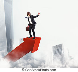 uomo affari, cavalcate, uno, statistico, freccia, a, il, sky., 3d, interpretazione
