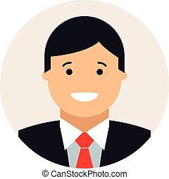 uomo affari, cerchio, icona