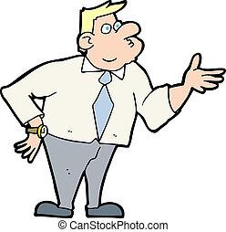 uomo affari, chiedere, domanda, cartone animato