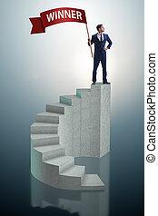 uomo affari, cima, vincitore, scala