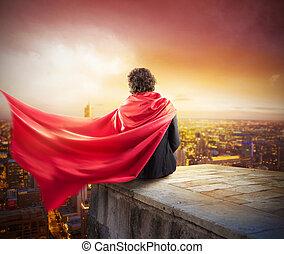 uomo affari, città, superhero
