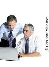 uomo affari, computer, competenza, lavorativo, squadra