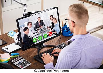 uomo affari, computer, conferencing video