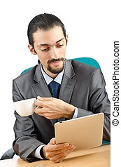 uomo affari, computer, lavorativo, tavoletta