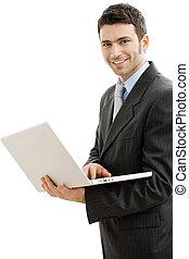 uomo affari, computer portatile, usando