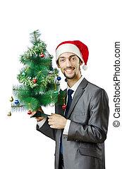 uomo affari, con, albero natale, bianco