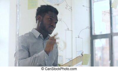 uomo affari, con, appunti, a, ufficio, parete vetro
