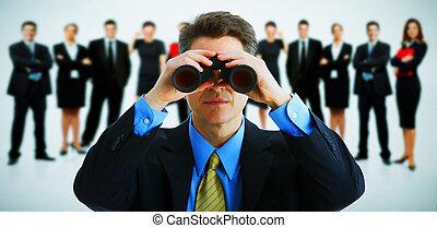 uomo affari, con, binoculars.