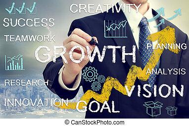uomo affari, con, concetti, rappresentare, crescita, e,...