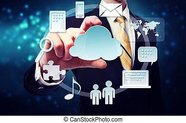 uomo affari, con, connettività, attraverso, nuvola,...