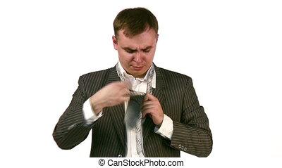 uomo affari, con, cravatta