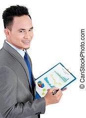 uomo affari, con, ditta, relazione annuale
