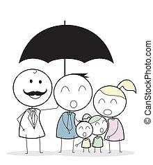 uomo affari, con, famiglia, assicurazione