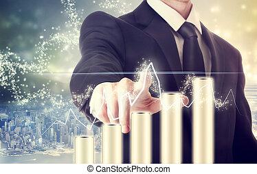 uomo affari, con, grafico, rappresentare, crescita