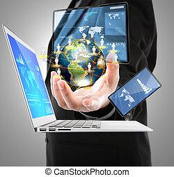 uomo affari, con, laptop, telefono, schermo, congegno,...