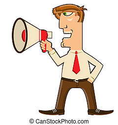 uomo affari, con, loudspeaker.vector, cartone animato, uomo, in, offise, vestiti, isolato, bianco