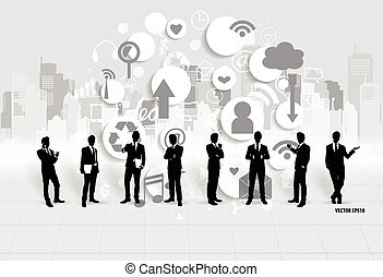uomo affari, con, nuvola, di, application., vettore,...